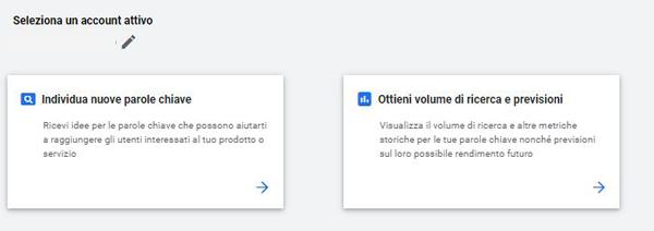 anteprima pannello strumento di pianificazione Google Ads