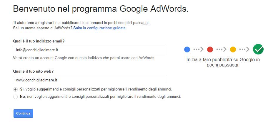 Google Adwords - schermata di benvenuto