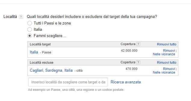 Target località Google Adwords